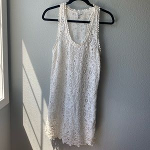 Joie crochet dress S lined ivory sleeveless mini